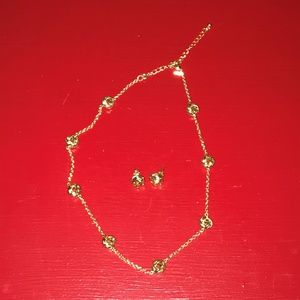 Gold Love Knot Necklace & Matching Earrings